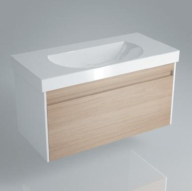 Тумба BUONGIORNO под умывальник подвесная 100 см дуб с 1 выдвижным ящиком + 1 внутренний ящик<br>