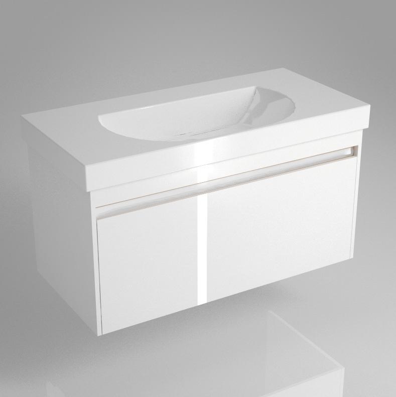 Тумба BUONGIORNO под умывальник подвесная 100 см белый с 1 выдвижным ящиком<br>