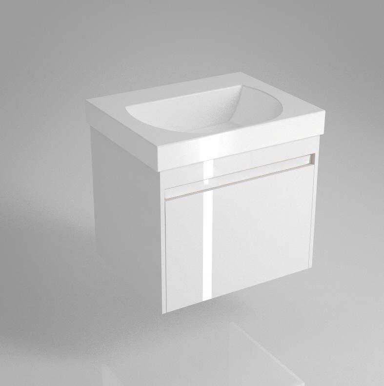 Тумба BUONGIORNO под умывальник подвесная 60 см европейский белый с 1 выдвижным ящиком + 1 внутренний ящик<br>