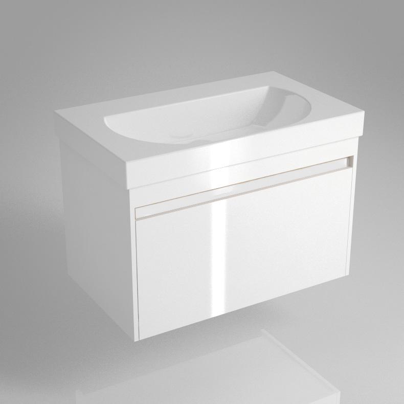 Тумба BUONGIORNO под умывальник подвесная 80 см европейский белый с 1 выдвижным ящиком + 1 внутренний ящик<br>