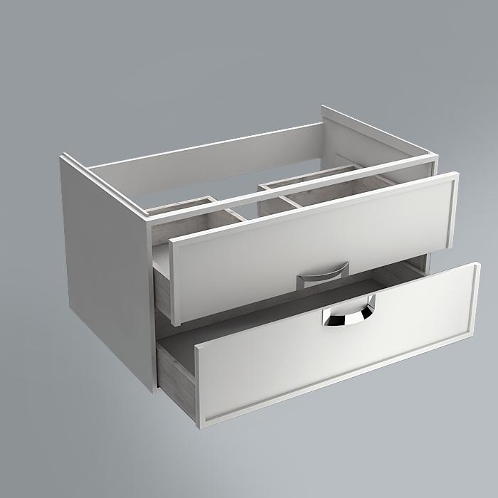 Тумба CANALETTO белая матовая 80см с 2 ящиками (подходит для раковин Buongiorno)<br>