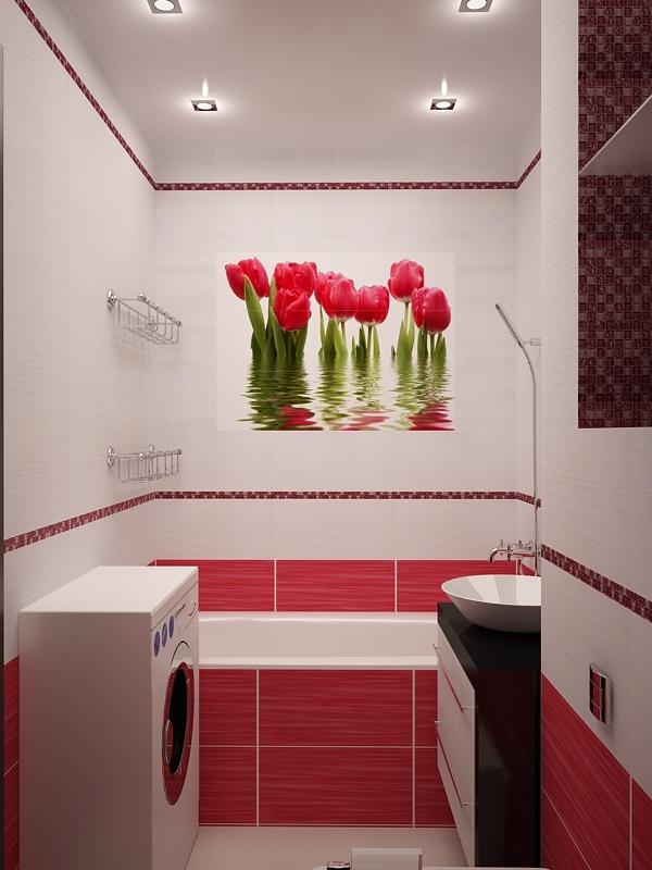 Тюльпаны плитка для ванной дизайн